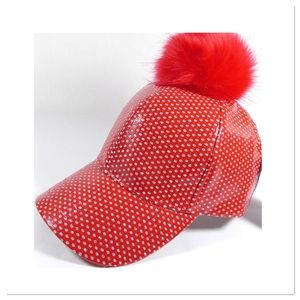 🎉HP🎉 Red Sparkles Pom Pom Cap